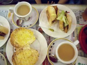 A typical HK breakfast - 猪扒包, 1 coffee, 1 yuan yang, 奶油猪仔包