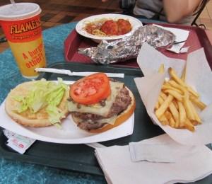 Meatball Spaghetti (background) & Mushroom Swiss Burger combo