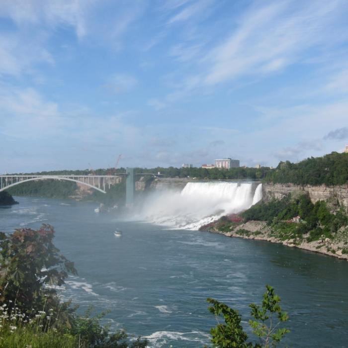 View of the Rainbow Bridge, American Falls & Bridal Veil Falls in the background