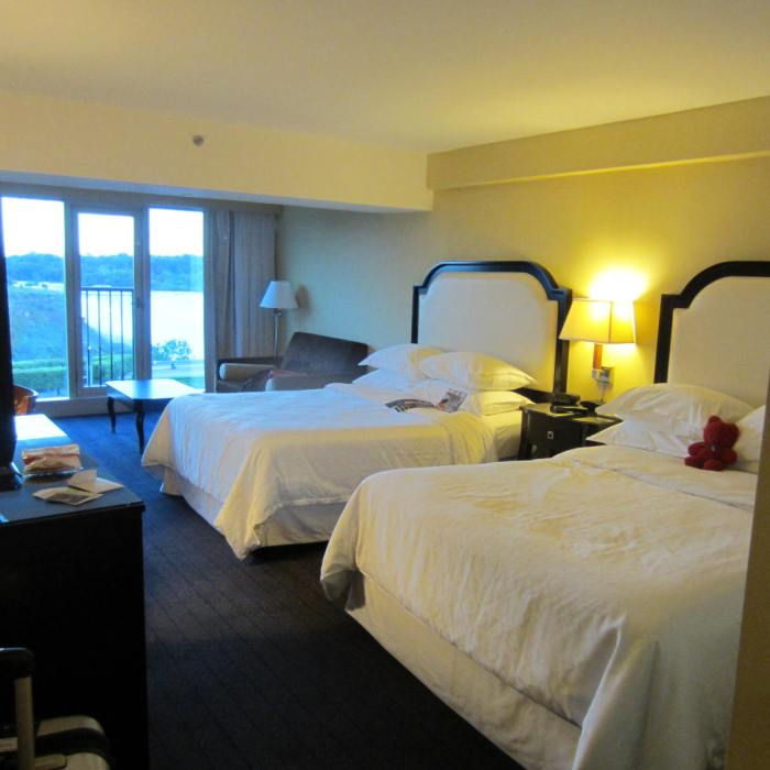 Comfortable big room with floor to ceiling windows overlooking the majestic Niagara Falls!