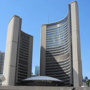 """Toronto City Hall, the centre building is nicknamed """"The Eye"""""""