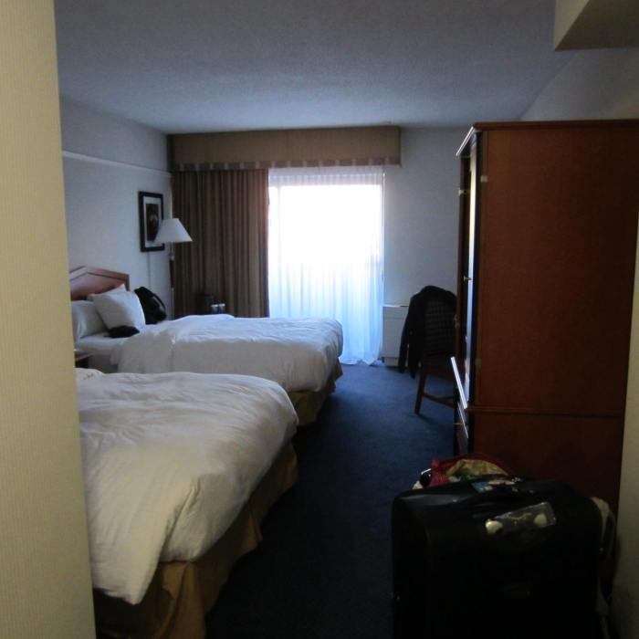 """Our little hotel room with a """"balcony"""""""