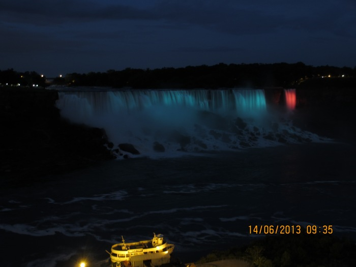 Illuminated view of the American Falls & Bridal Veil Falls
