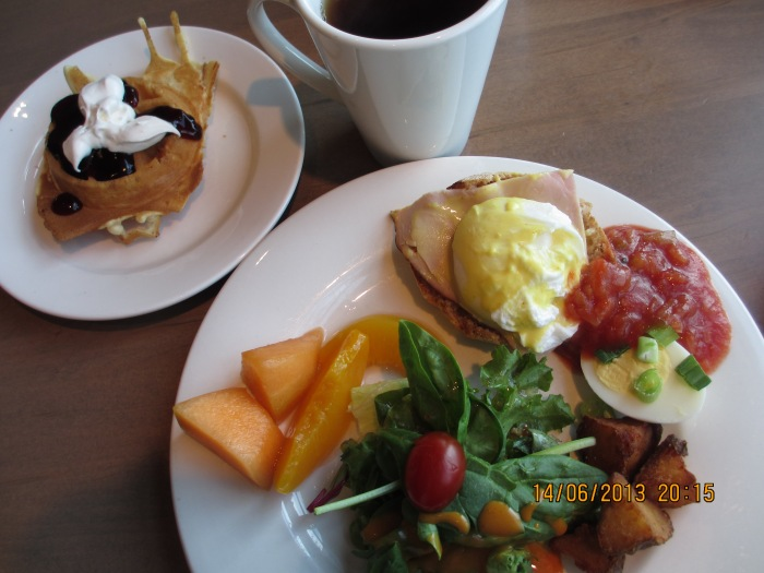 Great waffles, fruits, salad & my favourite eggs benedict!
