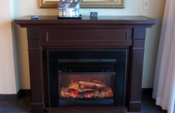 "We even have a ""fireplace"" in the room that feels so real!"