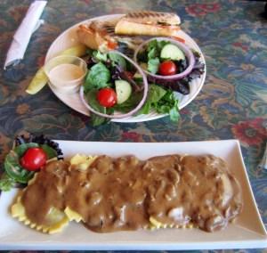 Salad + Mushroom Pasta
