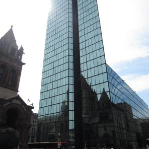 Beautiful reflection of Trinity Church on the tallest building in New England - John Hancock Tower