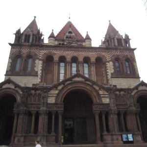 Front view of the national historic landmark - Trinity Church, founded in 1733