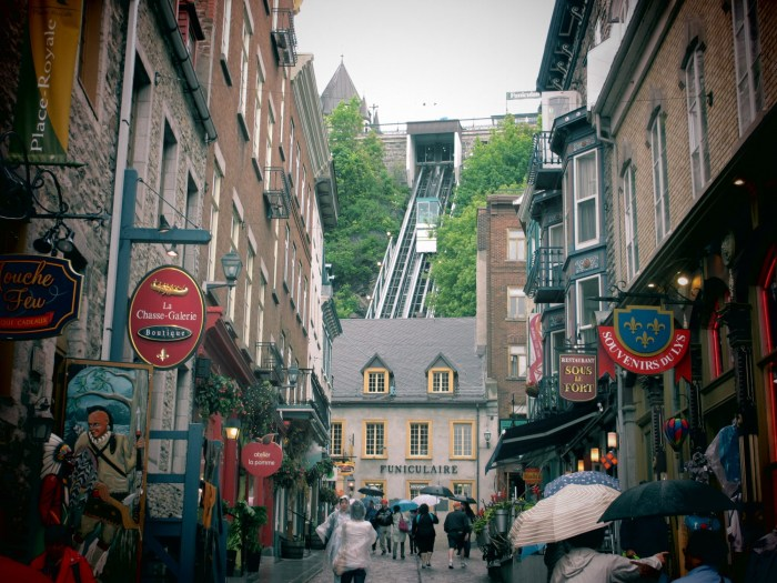 Old Quebec Funicular in the top centre part of the pic