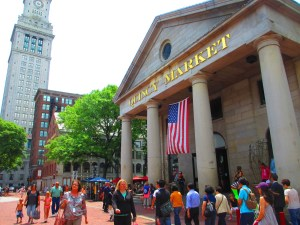 Quincy Market, a historic building near Faneuil Hall, an indoor pavilion of vendor stalls
