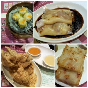 Clockwise from top left: steamed pork dumpling with shrimp, steam rice rolls w/ BBQ pork, pan-fried turnip cake, fried egg rolls