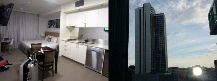 (From left) bedroom, dining+ kitchenette, & view from room in the morning
