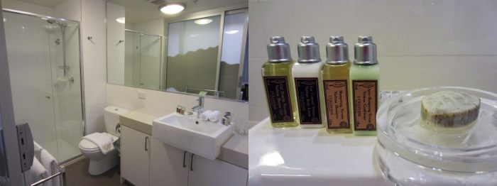 The long toilet + shower with L'Occitane bath products