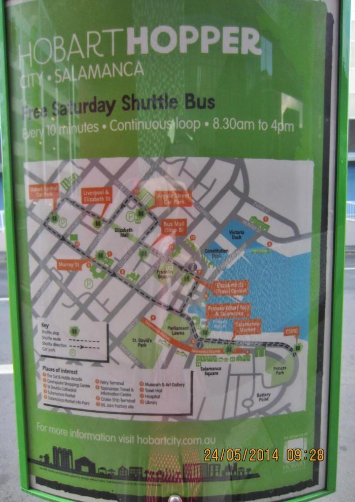 Free Hobart Hopper Shuttle Bus route map