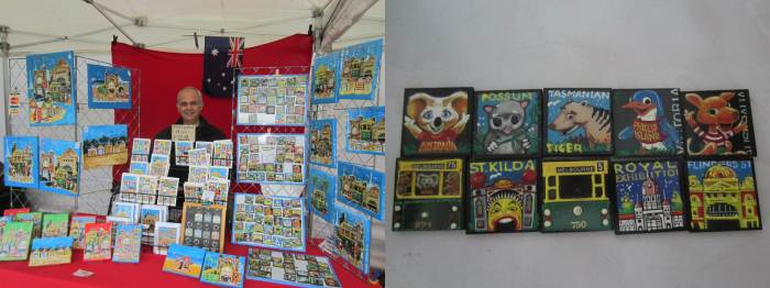 The friendly artist standing proudly in front of his stall, as requested by me :)