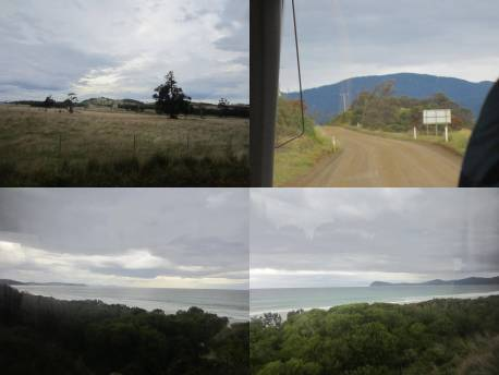 4 different views of Bruny Island, from North Island's Robert Point to South Island's Adventure Bay