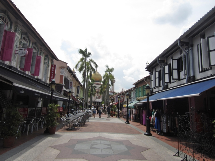 Bussorah Street with the Sultan Mosque in the background