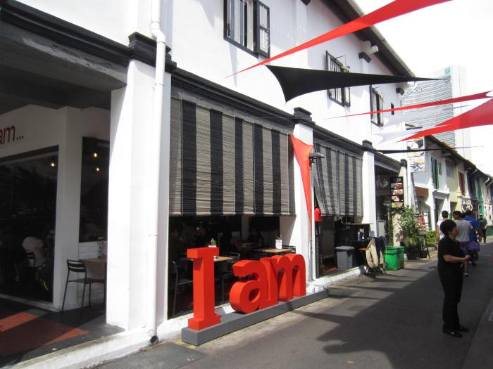 I AM - striking red signage that you can't miss at Haji Lane
