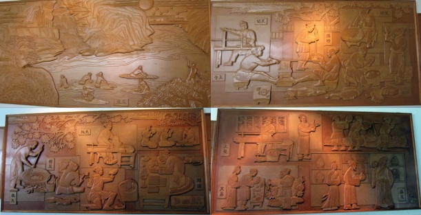 The process of discovering unearthed inscriptions on oracle bones (from top left in clockwise direction)