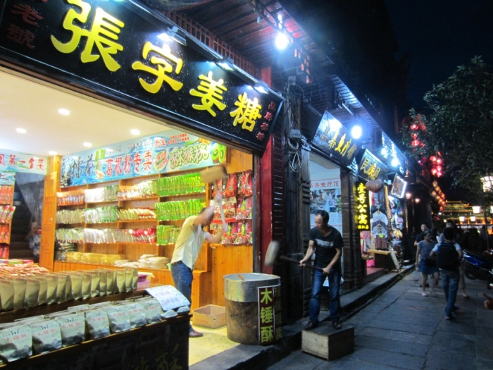 Many shops here selling traditional homemade ginger sweets