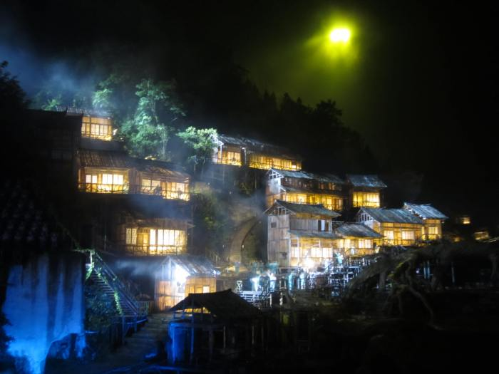 The Xiangxi village houses on the terraces (梯田)