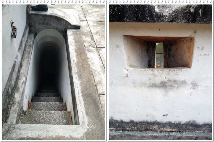 (Left) Narrow stairway (Right) Small openings outside the fort wall
