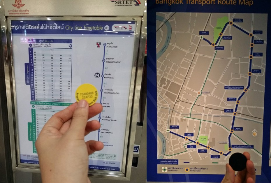 (Left) Airport Rail Link ticket & SA City Line route (Right) MRT ticket & route