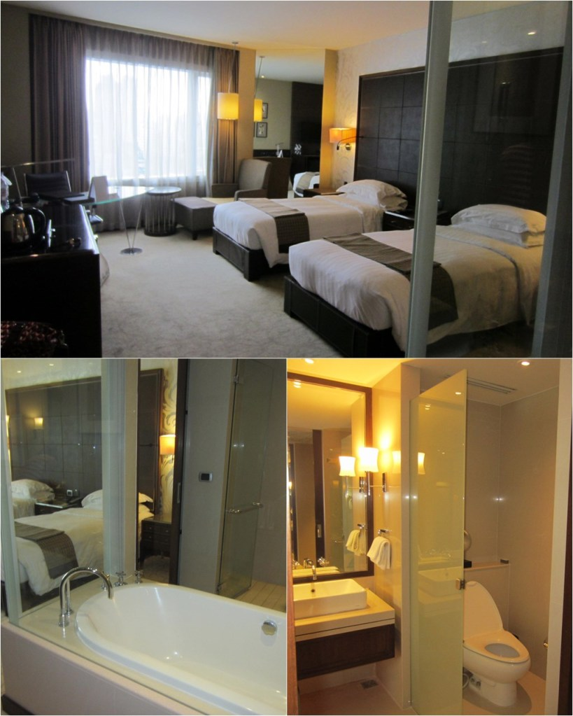 Our deluxe twin room with a see-through bathtub
