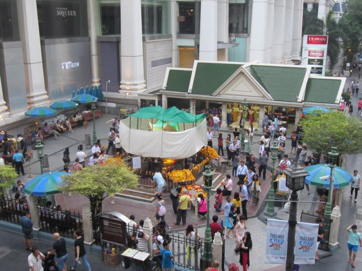 Aerial view of Erawan Shrine from the BTS Skywalk