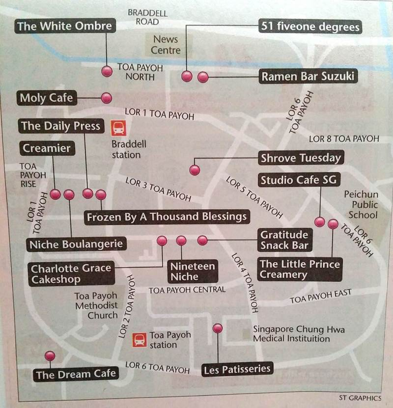 Map of cafes in Toa Payoh that sprouted over the last year (extracted from Sunday Times Jan'15)
