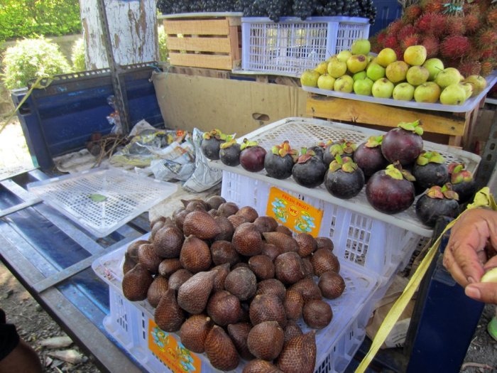 A mobile fruit stall selling native fruits like the addictive Salak (front)