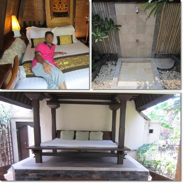 Clockwise from top left: bedroom on 2nd storey, the outdoor shower, & the open-air day bed on 1st storey at the entrance