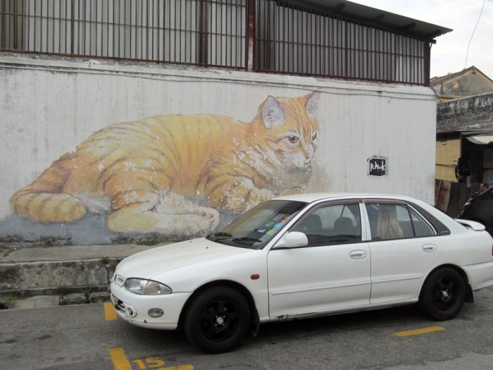 "The name of this art piece: ""Skippy"". Looks like Skippy is watching over the car ;)"