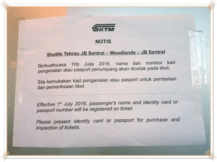 Announcement at the KTM Shuttle Tebrau ticket booth