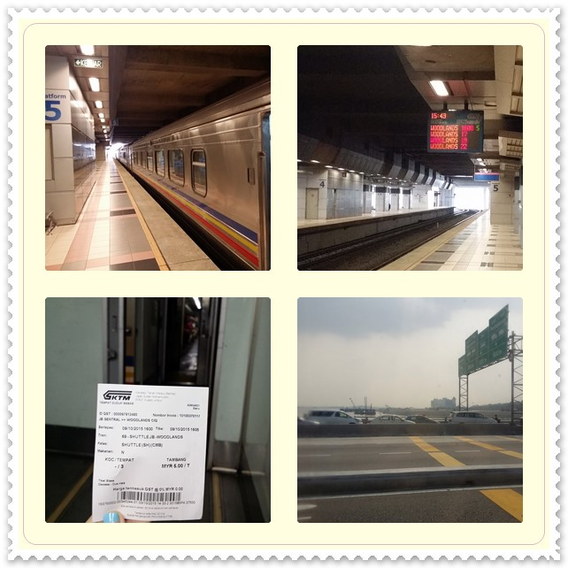 Photos on top show the train platform at JB Sentral, while bottom photo is the train ticket + the view along the 5-min ride