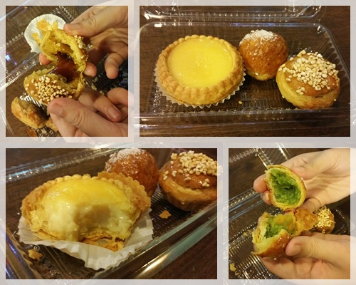 We tried the new durian pastry (top left), trishaw egg tart (bottom left) & pandan salted egg yolk pastry (bottom right)