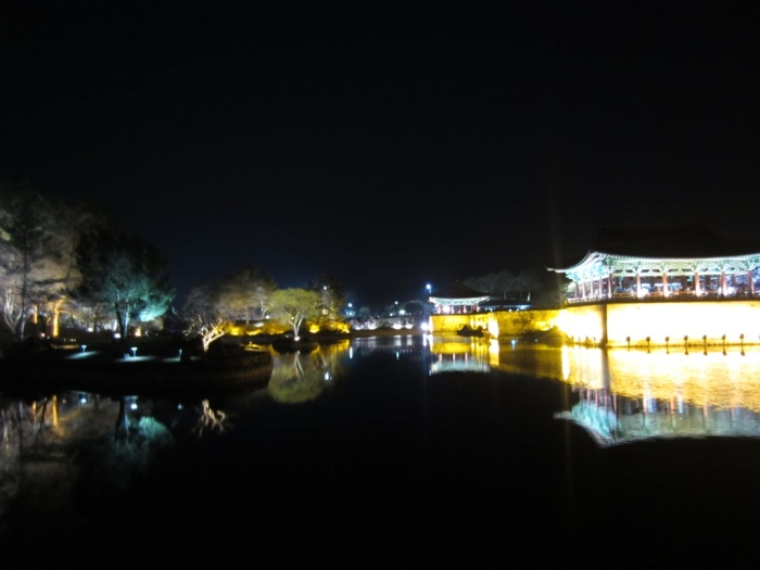 Amazing night view at the ancient Silla Palace & Anapji Pond