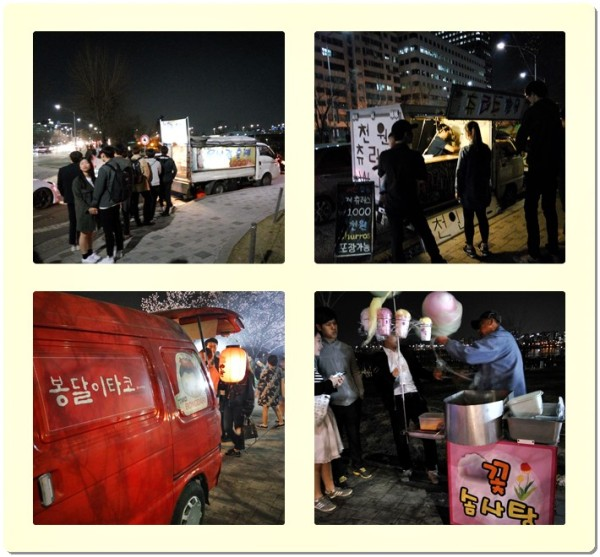 The attractive food trucks at the night market