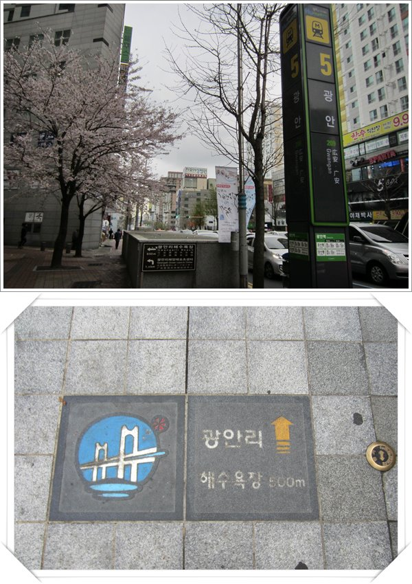 Gwangan Station exit 5. Look out for directional signs like the pic at the bottom on the pavement