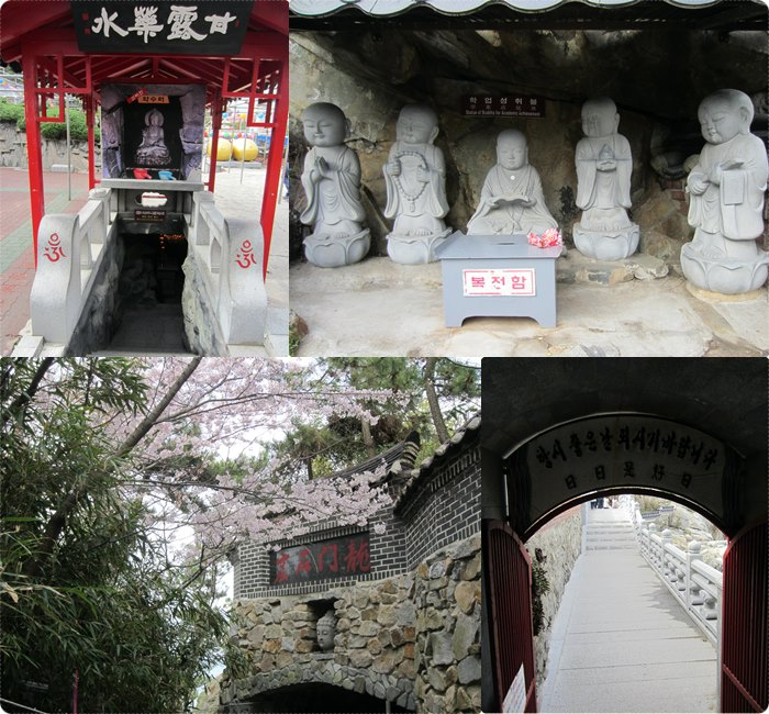 This stairway (top left) leads to a shrine with sacred dew drops, while the Buddha statues (top right) are for academic achievement