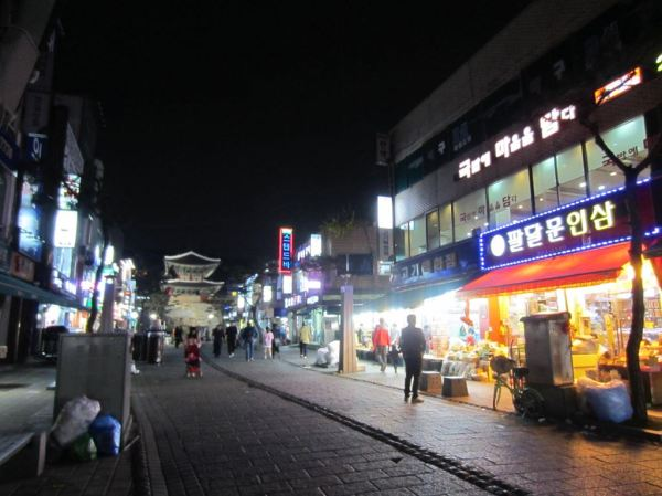 Quaint neighbourhood lined with both traditional & modern shops with the Paldalmun in the background