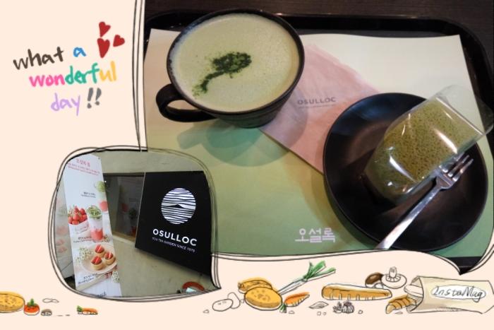Enjoyed a tea set - green tea swiss roll + green tea latte (KRW9,000/ S$10.75) at my favourite O'Sulloc