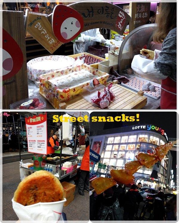 (From top pic in clockwise direction) Strawberry mochi KRW2,500, Glazed Sweet Potato Stick KRW3,000, & Vegetable Hotteok KRW2,000