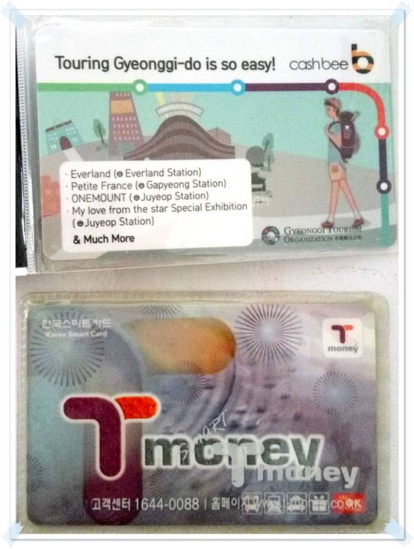 The Cashbee card (top) & T-money card