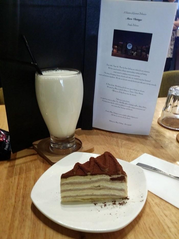 Roasted Almond Milk (back) & Chestnut Mille Crepe (front)