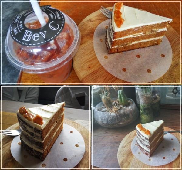 My post-lunch dessert: Ice Peach Tea & Gula Melaka Banana Cake