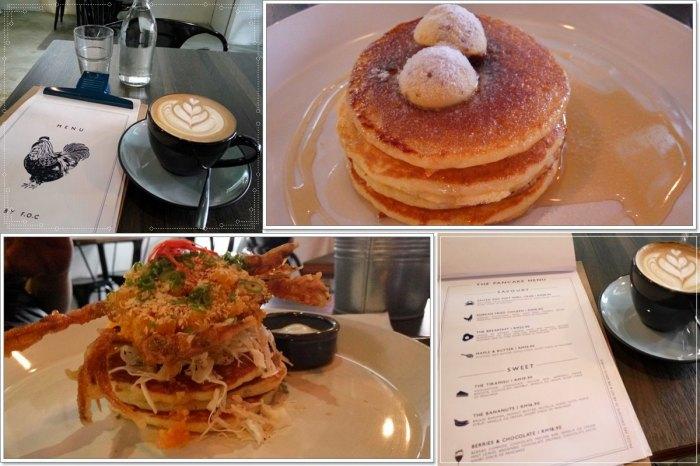 From top left, clockwise direction: Hazelnut Latte, Maple & Butter Pancake, Salted Egg Soft Shell Crab Pancake