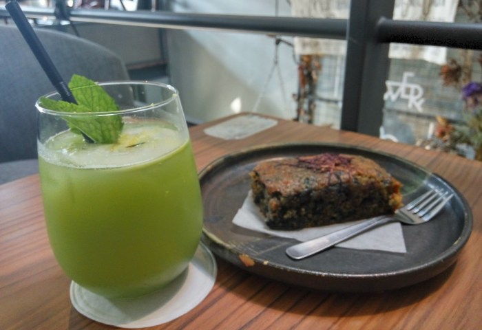 My special drink with a slice of homemade carrot cake