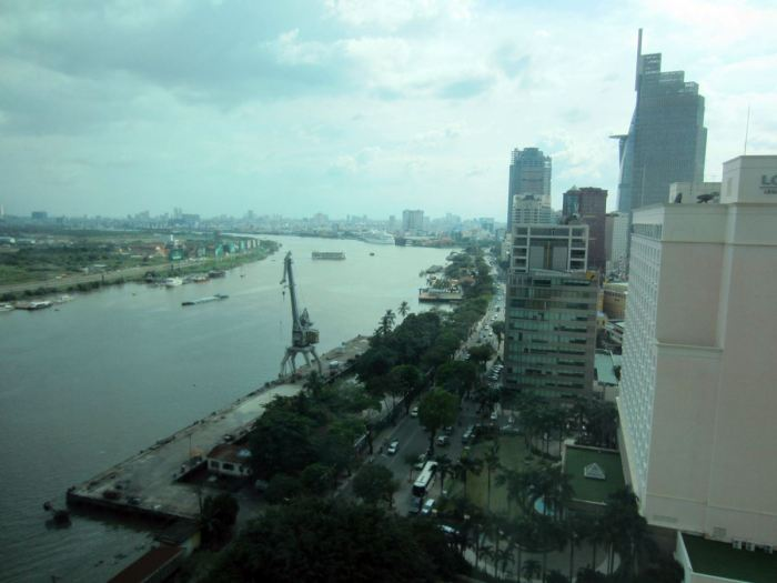 Saigon River view from the comfort of our room