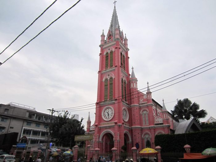 The unique pink church in Tan Dinh